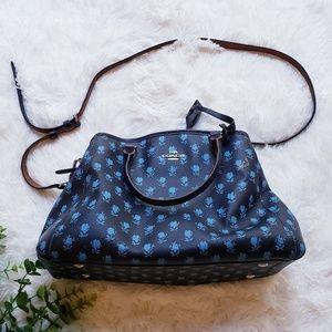 Coach black blue rose satchel shoulder bag